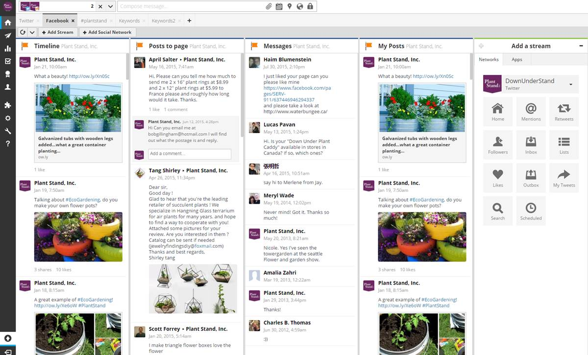 Plant Stand Social Media Dashboard